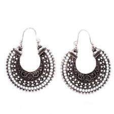 Bohemian Vintage Tribal Gypsy Retro Tibetan Silver Carved Hoop Earrings
