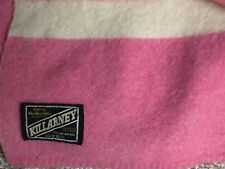 Antique Vintage Killarney KERRY WOOLLEN MILLS Blanket Pink White 72x88 IRELAND