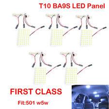 5x White Car Interior Light Panel 48SMD LED T10 BA9S Dome Festoon Bulbs Adapter