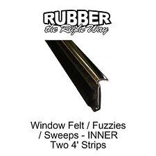 1950 - 1964 Oldsmobile Window Felt / Fuzzies - Inner - w Stainless Lip - pair