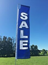 Sale Advertising Flat Top Flag ONLY - Blue & White (300cm x 70cm) - FREE POST !!
