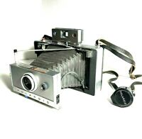 Polaroid Land Camera Automatic 100 w/ Leather Strap and Film Installed Vintage