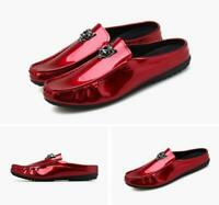 mens Mules Patent leather moccasins driving shoes casual slip on loafer slippers