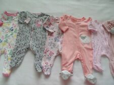 Baby Girls 0-3 Months Cotton Zip-Up Footed Sleepers Pajamas Lot of 6 EUC!!