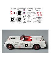 #12 Von Esser 1954 Corvette 1/64 scale decal fits Afx Tyco Aurora Auto World
