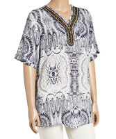 #1023 Ladies Designer Plus Size UK 20 White & Blue Abstract Tunic Top rrp $99