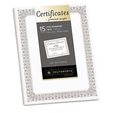 Southworth Premium Certificates White Fleur Silver Foil Border 66 lb 8.5 x 11 15