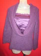 MONSOON Purple Furry Hairy 80% Angora Sweater Large Cowell Neck Silk Inset Sz 10