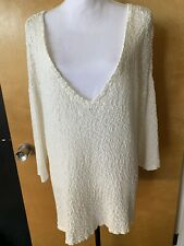 Joie White Cotton Boucle V Neck Pullover Sweater