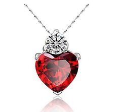 Ruby Red Swa-rovski Elements Cubic Zirconia Heart Free 925 Silver Necklace, 18""