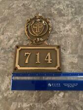 The Plaza NYC hotel  Brass room number door plaque #714 Rare!