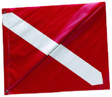 "Boat Diver Down Flag Red & White Vinyl Dive Flag With Stiffener Grommets 20""x24"