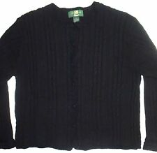 Womens L Orvis Cardigan Black Cable Knit Cotton Sweater