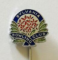 Sylvania Bowling Club Badge Pin Flower Design Rare Vintage (K5)