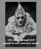 Vintage Creepy Circus Clown Scary PHOTO Freak Creepy Weird Odd Head Devil