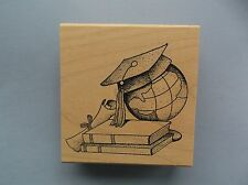 CREATIVE IMAGES RUBBER STAMPS CISTAMPS GRADUATION GLOBE NEW wood STAMP
