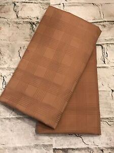 FAB! Ralph Lauren Glen Plaid Camel 100% Cotton Pair Euro Pillow Shams 26 X 26