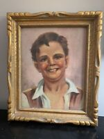 ANTIQUE GOLD PICTURE FRAME Gilt Hand Carved WOOD H. O. McNierney Painting Of Boy