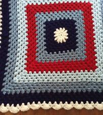 PATRIOTIC LAP AFGHAN Crochet New Handmade Crochet Lap Blanket Americana
