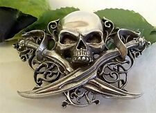 ALCHEMY GOTHIC DESIGN PEWTER BELT BUCKLE -  LETTER OF MARQUE SKULL & CUTLASSES