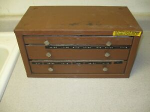 Vintage Huot Drill Index 3 Drawer Drill Dispenser Cabinet 1/16 to 1/2