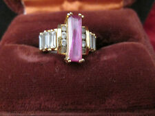 Ladies Cocktail Ring Gold over Sterling with CZ Stones and Pink Topaz Size 6.75