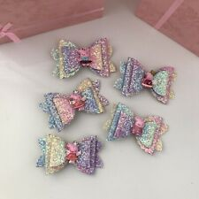 Peppa Pig Sparkly Hair Clips Cute Bows 3in Wide / 5 Pieces Included