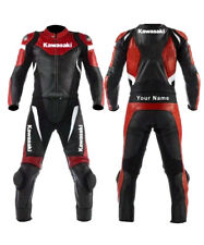 Kawasaki Motorcycle Leather Racing Suit CE Approved Red and Green with All Sizes