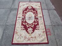 Old Hand Made French Design Wool Maroon Red Original Aubusson 143X77cm