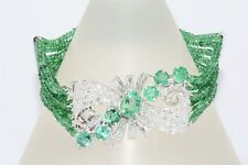 $31,300 64.51CT NATURAL EMERALD & DIAMOND PLATINUM CLUSTER BRACELET