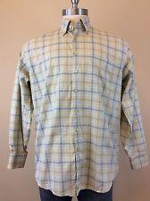 ORVIS Signature Collection Men's Light Blue Beige Plaid Shirt Size LARGE