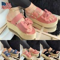 Women Platform Wedge Heels Peep Toe Sandals Bowknot Summer Casual Beach Shoes US