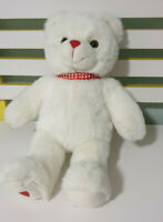 BEAR CITY WHITE TEDDY BEAR HEART OF FOOT RED BOWTIE  WITH HEARTS 40CM! RED NOSE