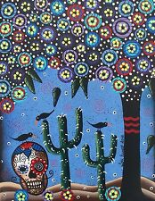 NEEDLEPOINT Canvas 14 or 18 count_Day Of The Dead Art_ Skull, Black Cat, Tree