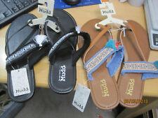 TWO NEW w tags MUDD Flip Flops w tassel Sandals Black and Cognac Size XL 11