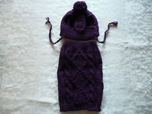 "M handmade knit Purple  dog sweater&hat set 14""x11"""