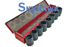 "8 Pc 3/4"" Drive SAE Air Impact Chrome Vanadium Steel Socket Set w/ Case"