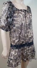 AMBIENTE Beige Brown Black Silk Animal Print Sleeveless Sheer Tunic Dress GB14