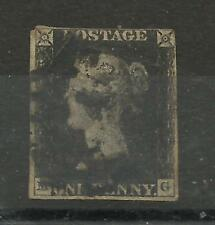 1840 Sg 1, 1d Intense Black (MG) Stated Plate 8 with Black Maltese Cross, G/used