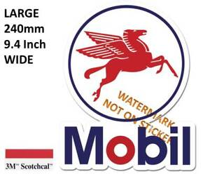 VINTAGE MOBIL GASOLINE BOWSER PETROL DECAL STICKER LABEL LARGE 250 MM