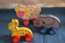 3 Wood Animals on Wheels Sheep Giraffe Elephant Rolling Wooden Kids Toys