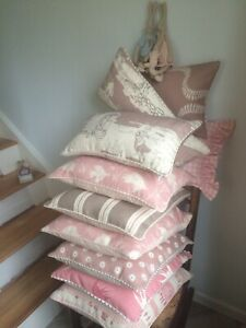 """VANESSA ARBUTHNOTT """"FOR THE LOVE OF ROSE"""" PIPED CUSHION COVER WHIPPET/DUSKY PINK"""