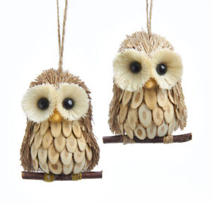 Wood and Sisal Owl Ornaments