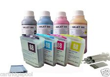 4 HP88 refillable cartridge L7580 L7590 K550 K5400dn K5400dtn +4x10oz/s ink