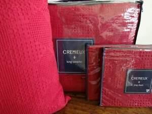 CREMIEUX EVERETTE RED WAFFLE WEAVE Cotton KING COVERLET Sham Pillow SET 4PC