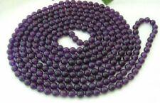 "36"" 8mm Russican Amethyst Round Bead Gemstone Necklace  JN279"