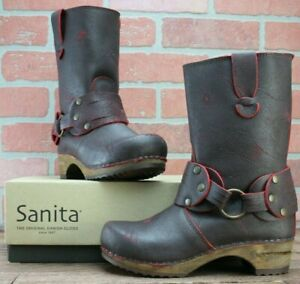 Sanita 'Mohawk' Danish Clog Boots in Antique RED EUR 35/US 4.5 - Wooden/Leather
