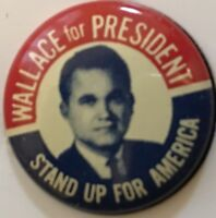 1968 George Wallace for President 26mm Campaign pin STAND UP FOR AMERICA Pinback