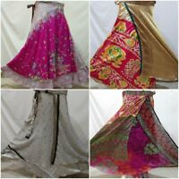 Indian Vintage Silk Stylish Sari Recycled Fashionable Wrap Around Skirt Lot 5