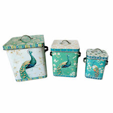 3 x Shabby Chic Peacock & Butterfly Metal Storage Containers Boxes